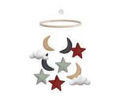 Mobil, moln/månar/stjärnor, röd/blå, Gamcha