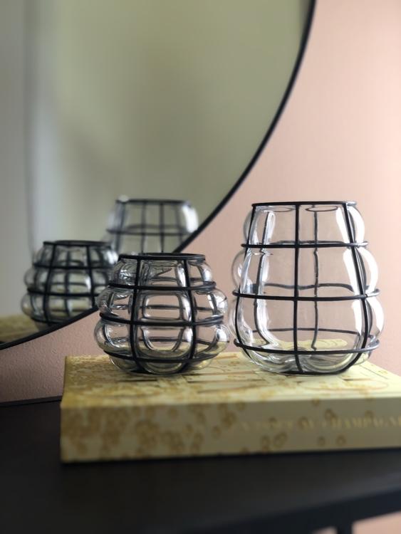 Ljuslykta Navi, antik metallisk, 10 och 14 cm, House doctor