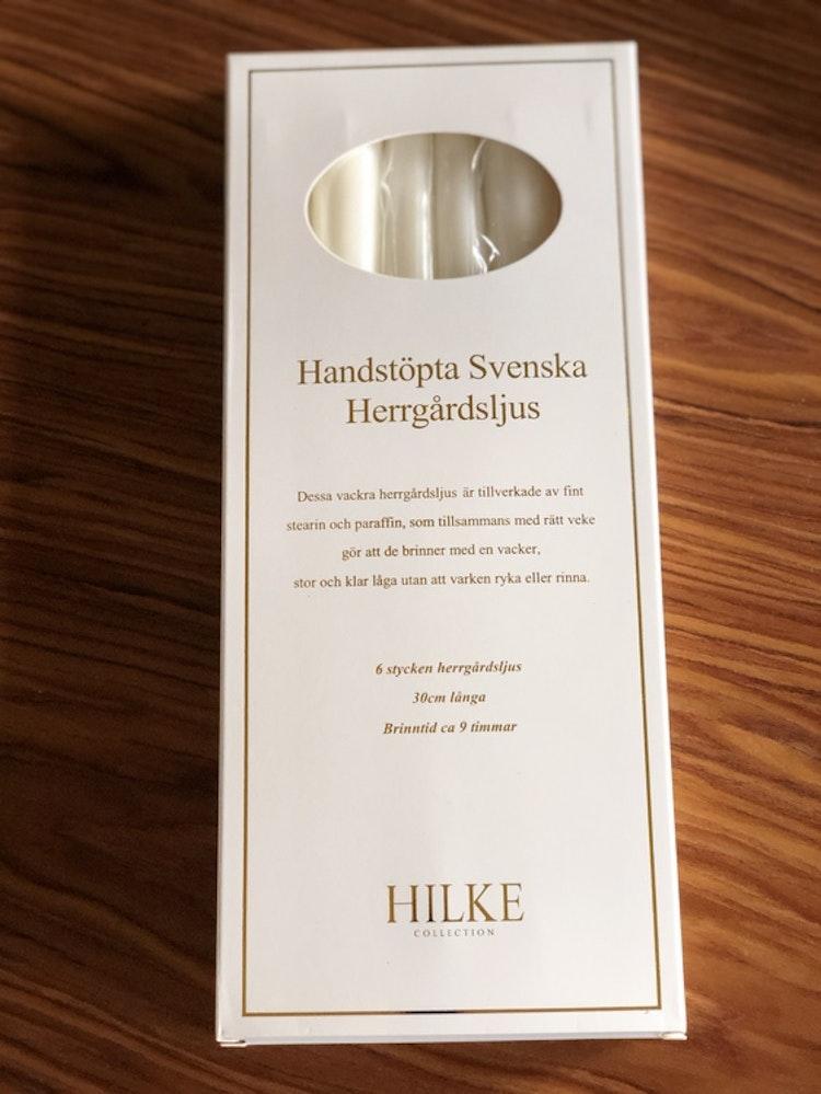 Herrgårdsljus 6-pack, pärlvit glans, handstöpta, Hilke Collection