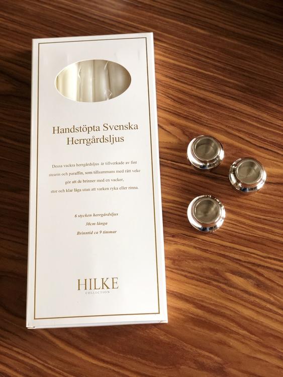 Herrgårdsljus 6-pack, pärlvit glans, handstöpta, Hilke Collection, ljusstake Piccolo No. 1 NP, förnicklad mässing