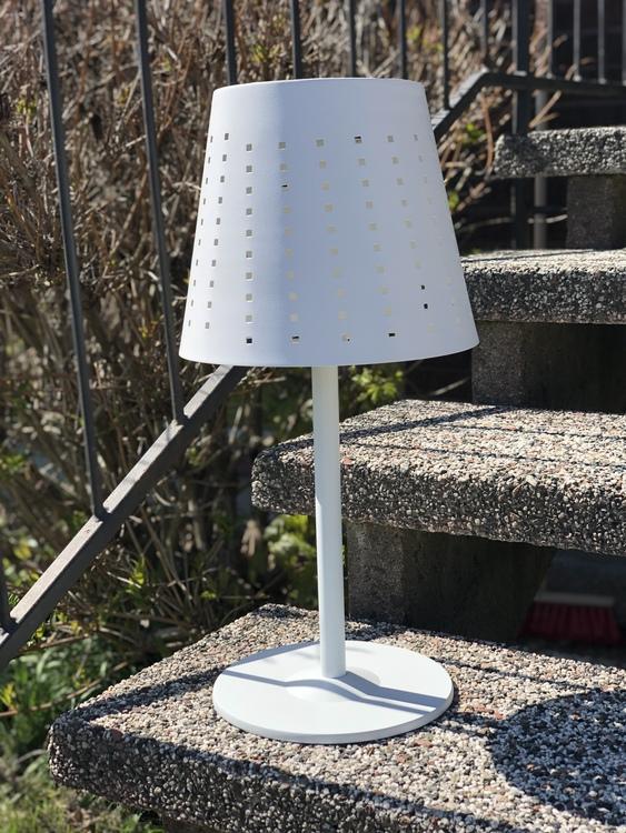 Utomhuslampa Alvar, vit metall, 48 cm, solcellslampa