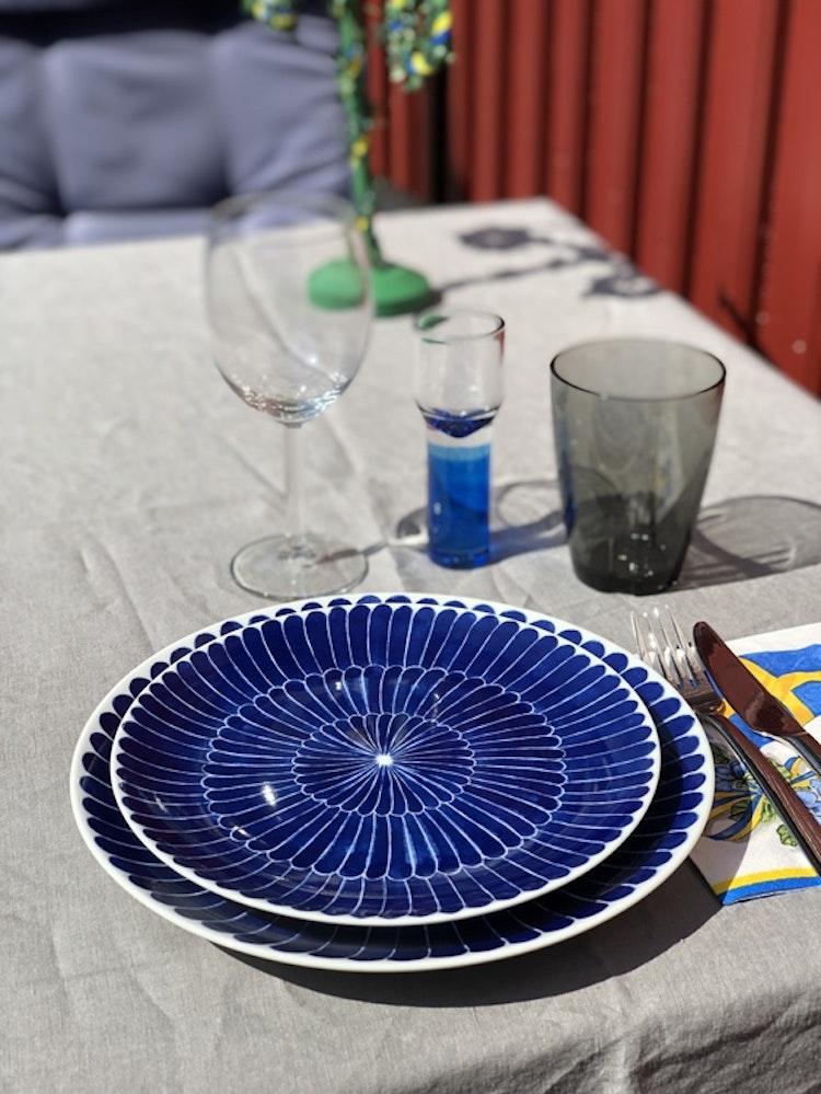 Götefors Porslin, Selma mattallrik Fjäder med bård 24 cm, assiett/liten tallrik Fjäder, 21 cm