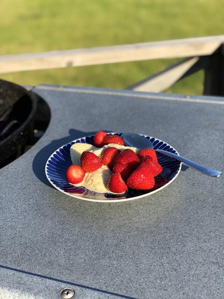 Assiett/ liten tallrik Fjäder, 21 cm, Götefors Porslin, jordgubbar och vaniljglass