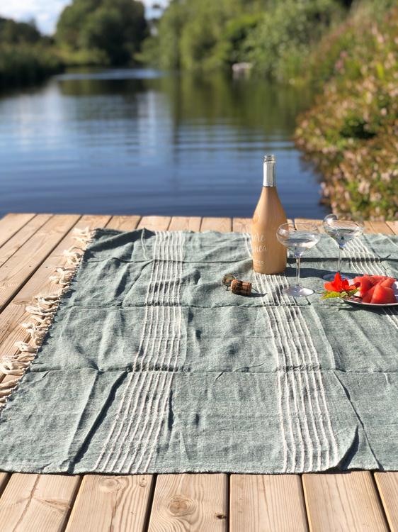 Pläd med ränder, grön/offwhite, Hübsch, bomullspläd, 140x200 cm