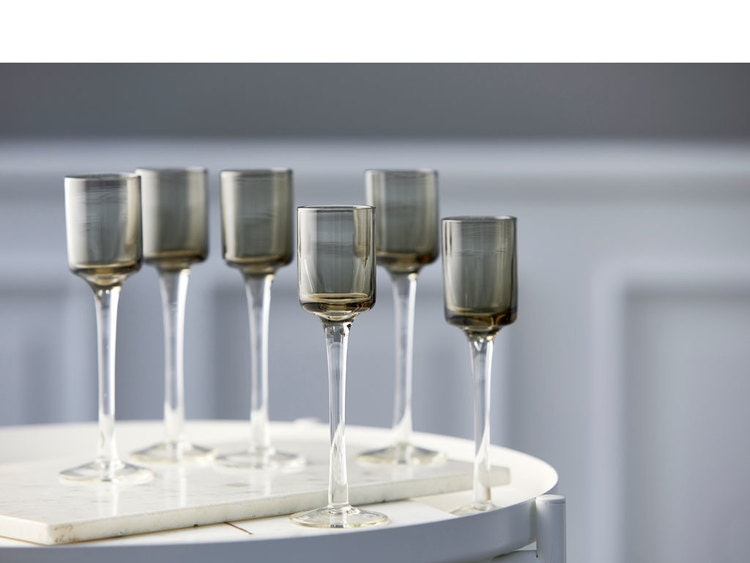 Snapsglas 6 st, grå, Lyngby Glas