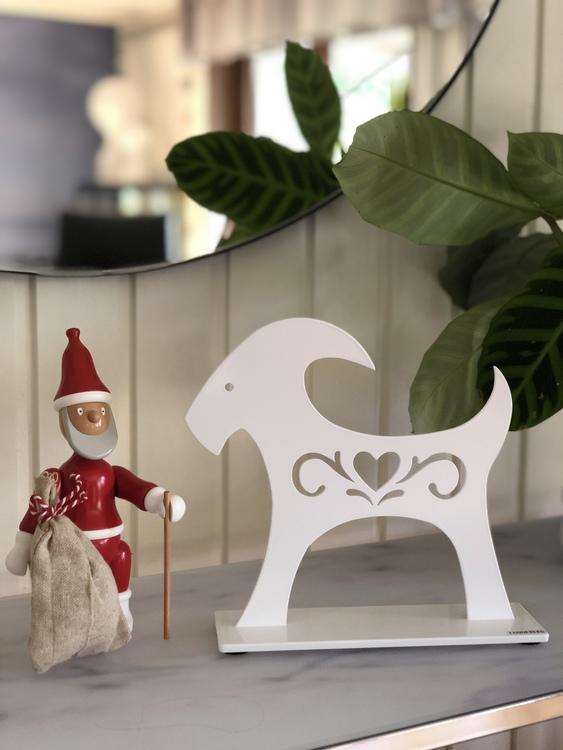 Julbock, 20 cm, vit, Lonneberg, jultomte Kay Bojesen