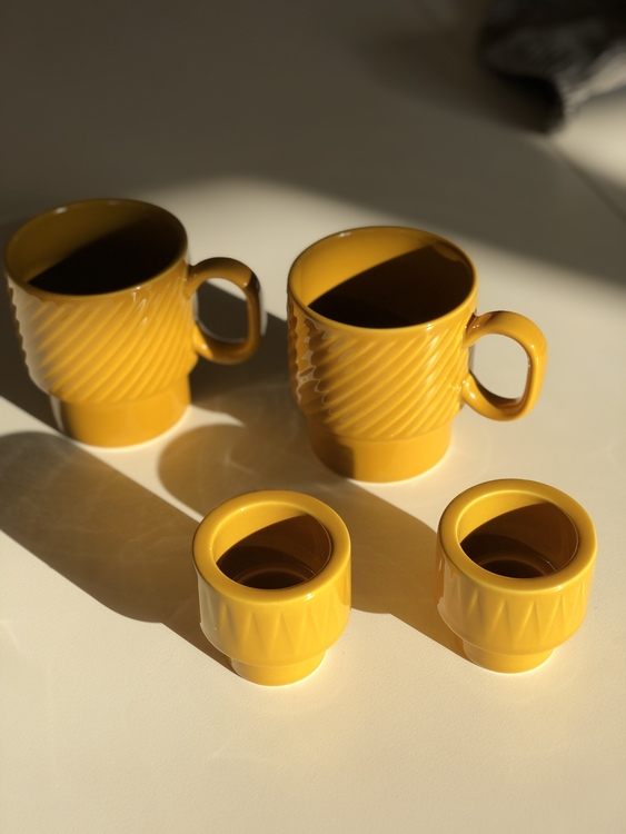 Coffee & More ljus/äggkopp, gul, Sagaform, gul kaffemugg