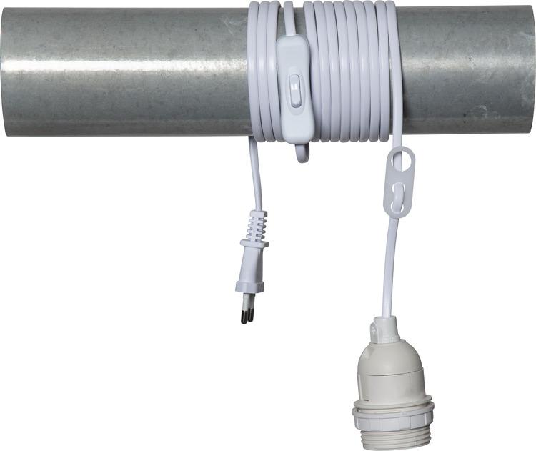 Kabel 3,5 m, vit med strömbrytare, Star trading