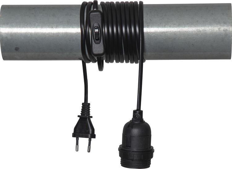 Kabel 3,5 m, svart med strömbrytare