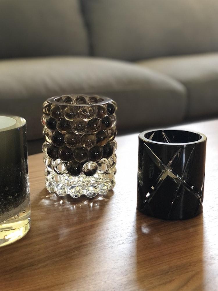Hurricane Crystal Lamp Black, small, Skogsberg&Smart, Hurricane Lamp Boule Smoky grey