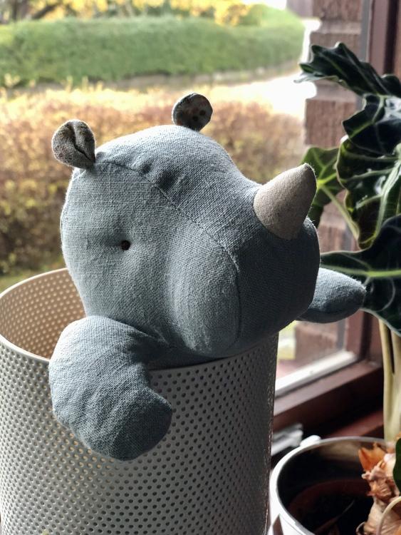 Noshörning, Safari friends, small, blå/grå, Maileg