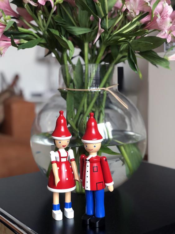 Kay Bojesen,  Jul-Lise och Jul-Ole, röd/blå/vit