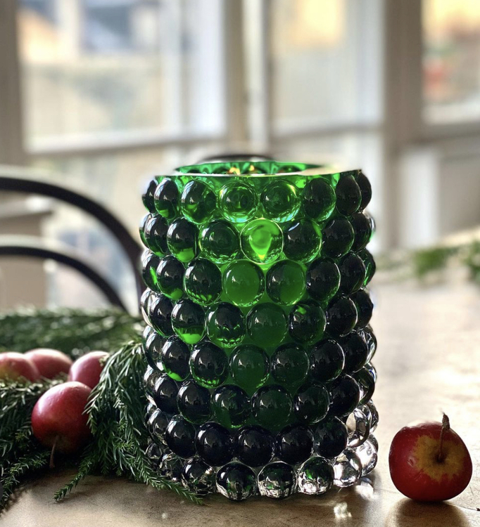 Hurricane Lamp Boule Green, large, 18,5 cm, Skogsberg&Smart