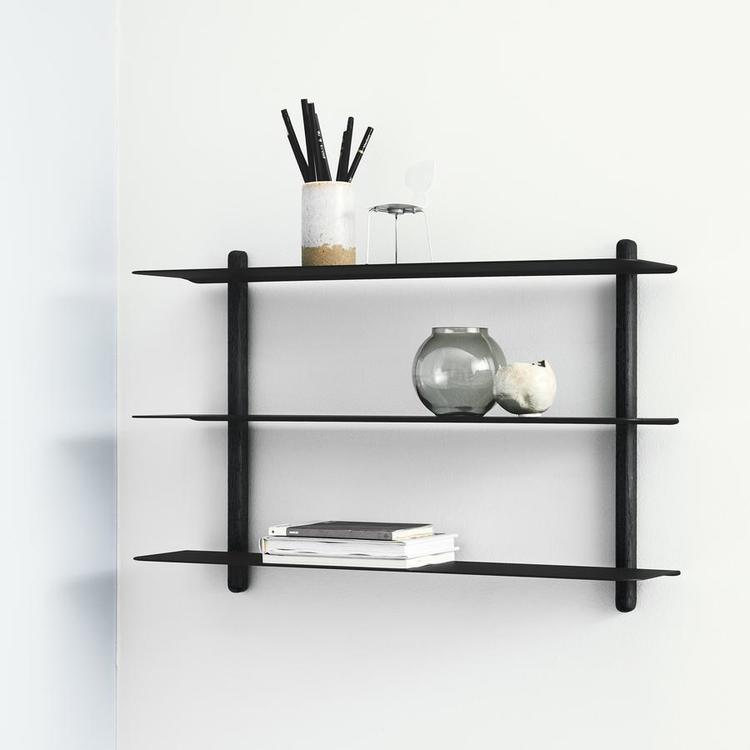 Vägghylla Nivo A, svart/svart ask, Gejst
