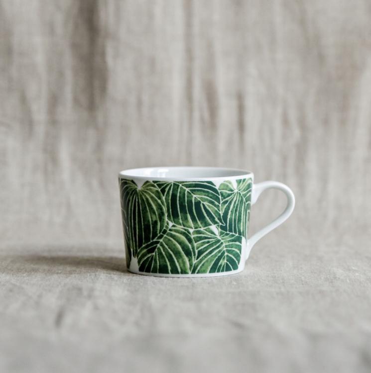2-pack kopp Funkia, grön, 24 cl, Götefors Porslin