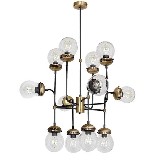 Taklampa Hydro 12 oxid/svart, klarglas, Hallbergs belysning