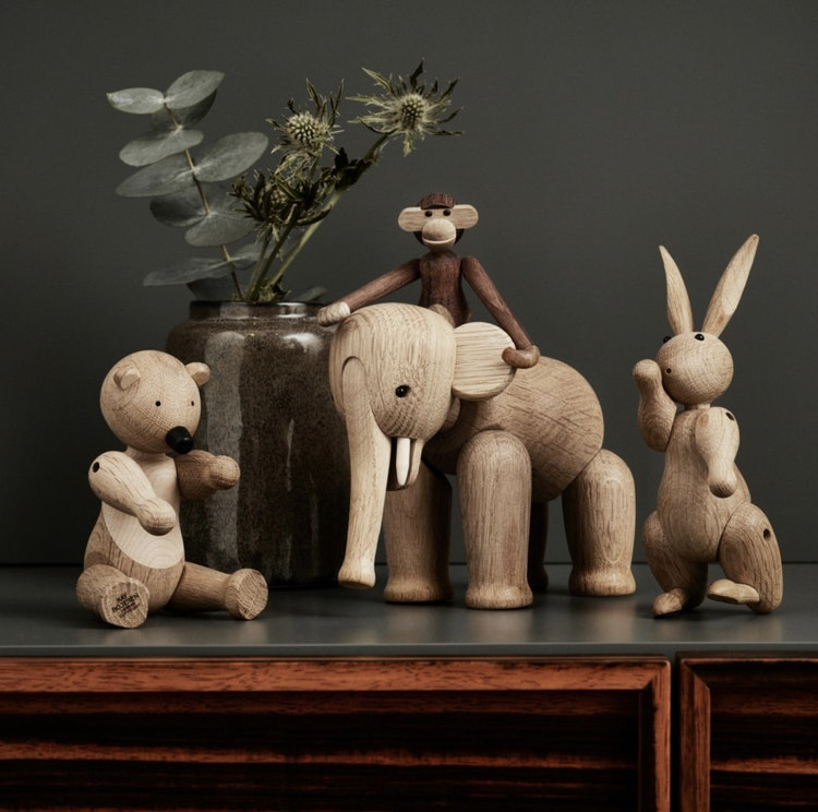 Kay Bojesen, elefant liten, ek, kanin, björn liten, apa mini
