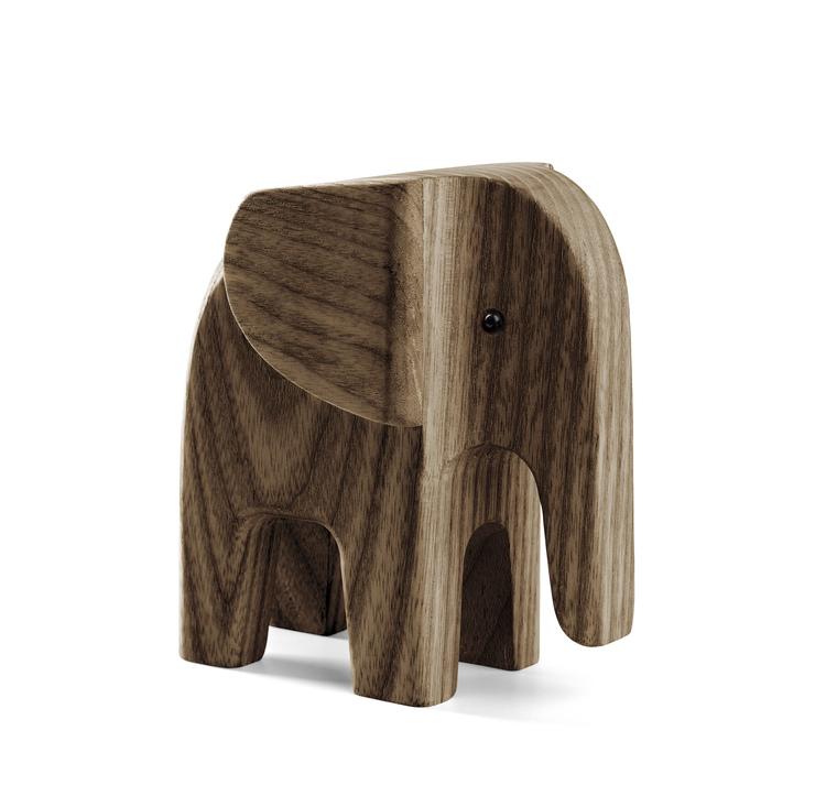 Elefant, liten, Novoform, träfigur, rökfärgad ask