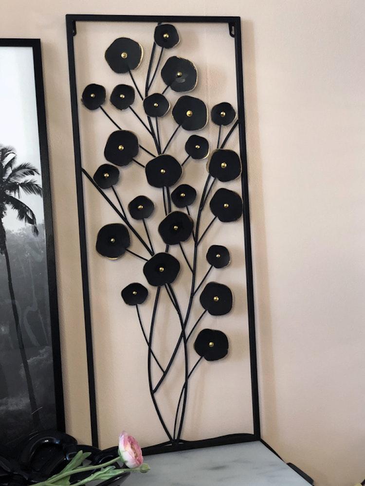 Väggdekoration Blommor, svart/guld, metall