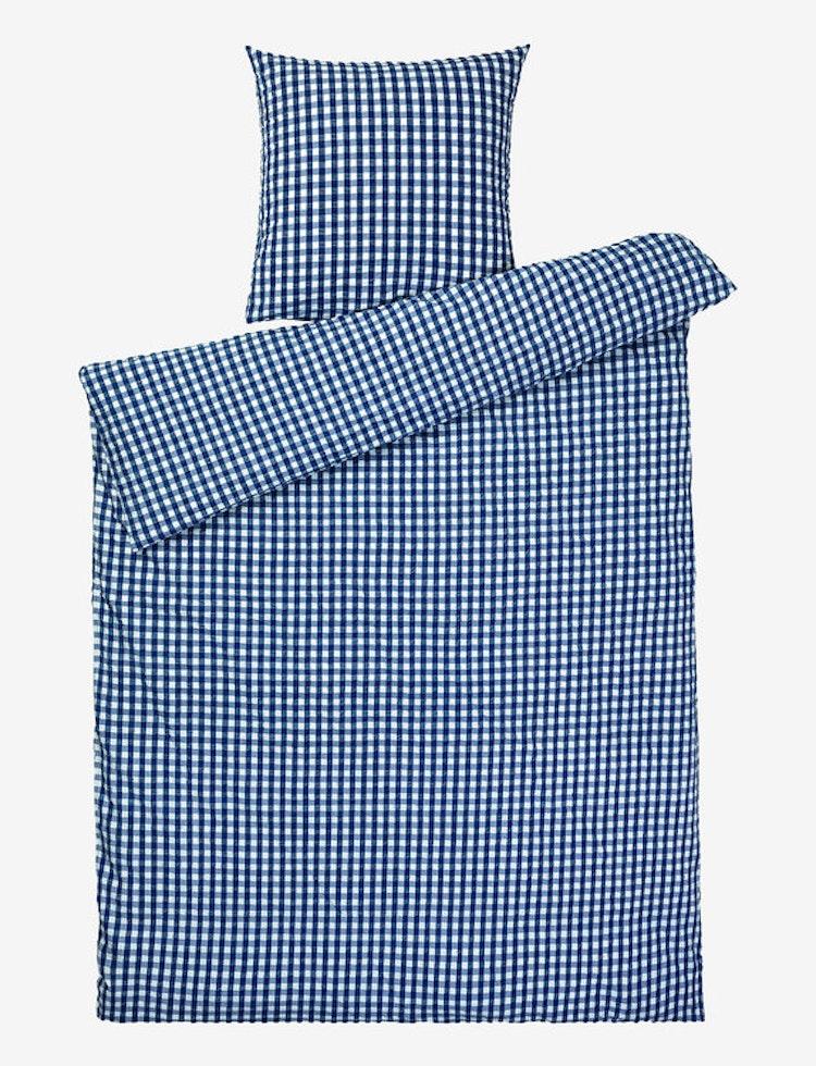 Påslakanset Bæk&Bølge, mörkblå/vit, JUNA, bäckebölja