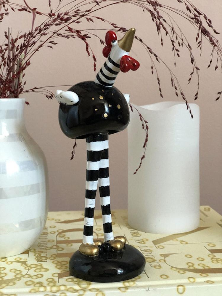 Inredningsdetalj, fågel på ben, stor, svart