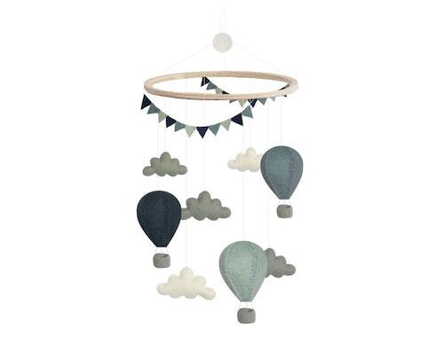 Mobil, luftballonger med moln, blå mix, Gamcha