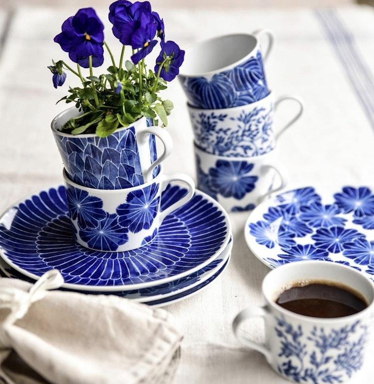 Kopp Myrten, blå, 24 cl, Götefors Porslin