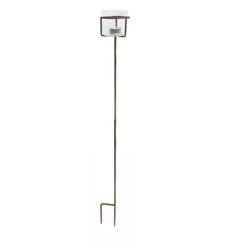 Ljushållare för värmeljus på pinne, rost, 90 cm, ELDgarden