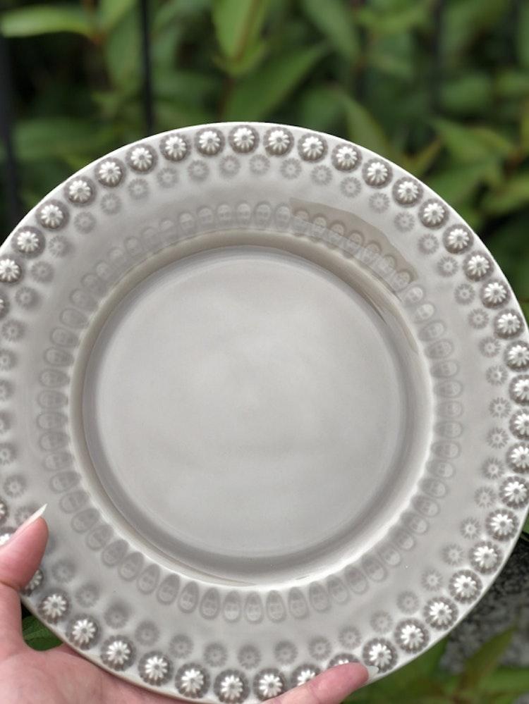 Daisy assiett, 22 cm, 2-pack, greige, PotteryJo