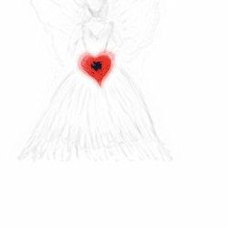 Ängel med rött hjärta mobilritat av Cicci Wik