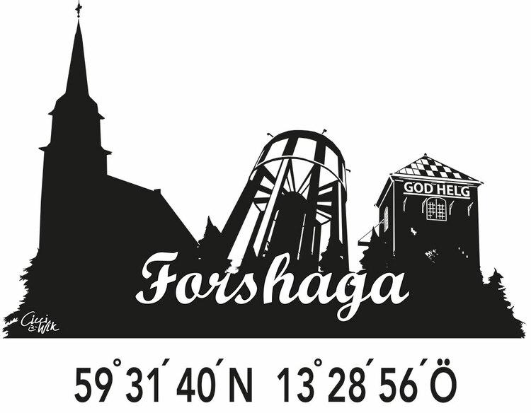 Forshaga-siluett med koordinater