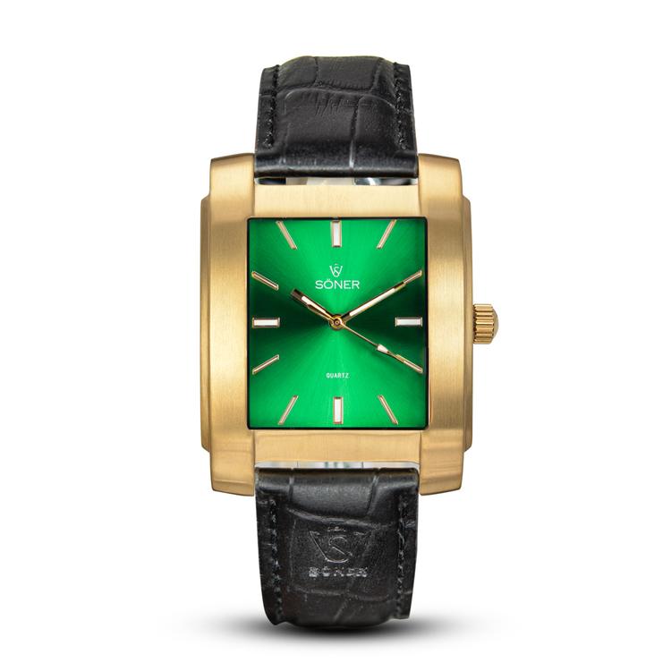 SÖNER LEGACY L borstat guld - Grön klassisk urtavla