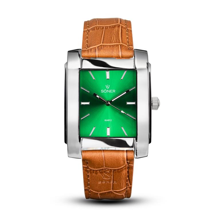 SÖNER LEGACY R polerat stål - Grön klassisk urtavla