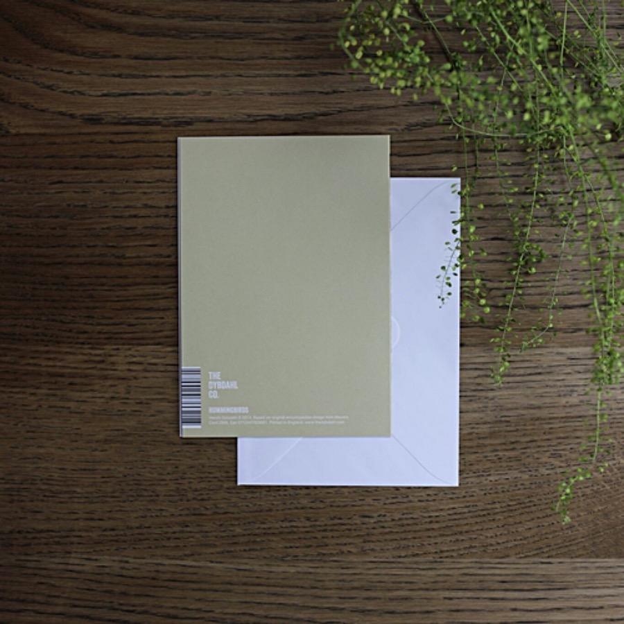 Card, Hummingbirds Assorted. Hummingbirds Assorted gratulationskort. FSC märkt med matchande vitt kuvert. Tryckt på matt papper i måtten 12x17 cm. The Arni Concept