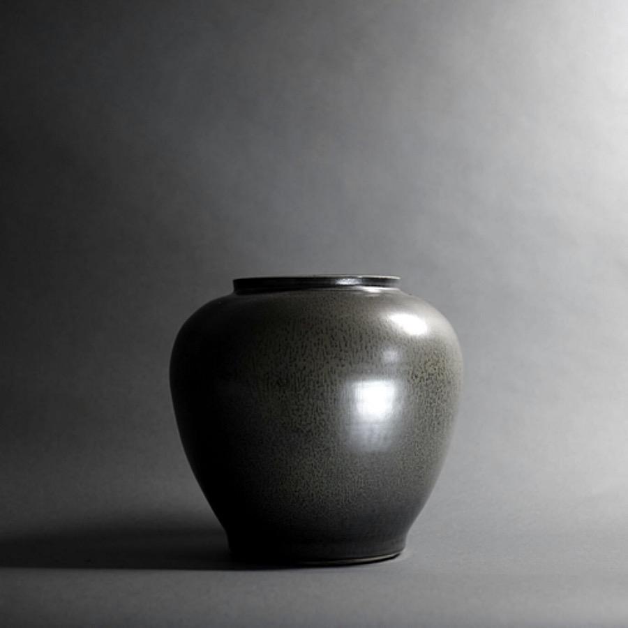 Iris Noir Vase. Glaseringstekniken som använts i skapandet av Iris Noir Pot ger vackra vertikala ytlinjer och komplexa småspräckliga mönster. Sofistikerad med oändliga möjligheter. The Arni Concept