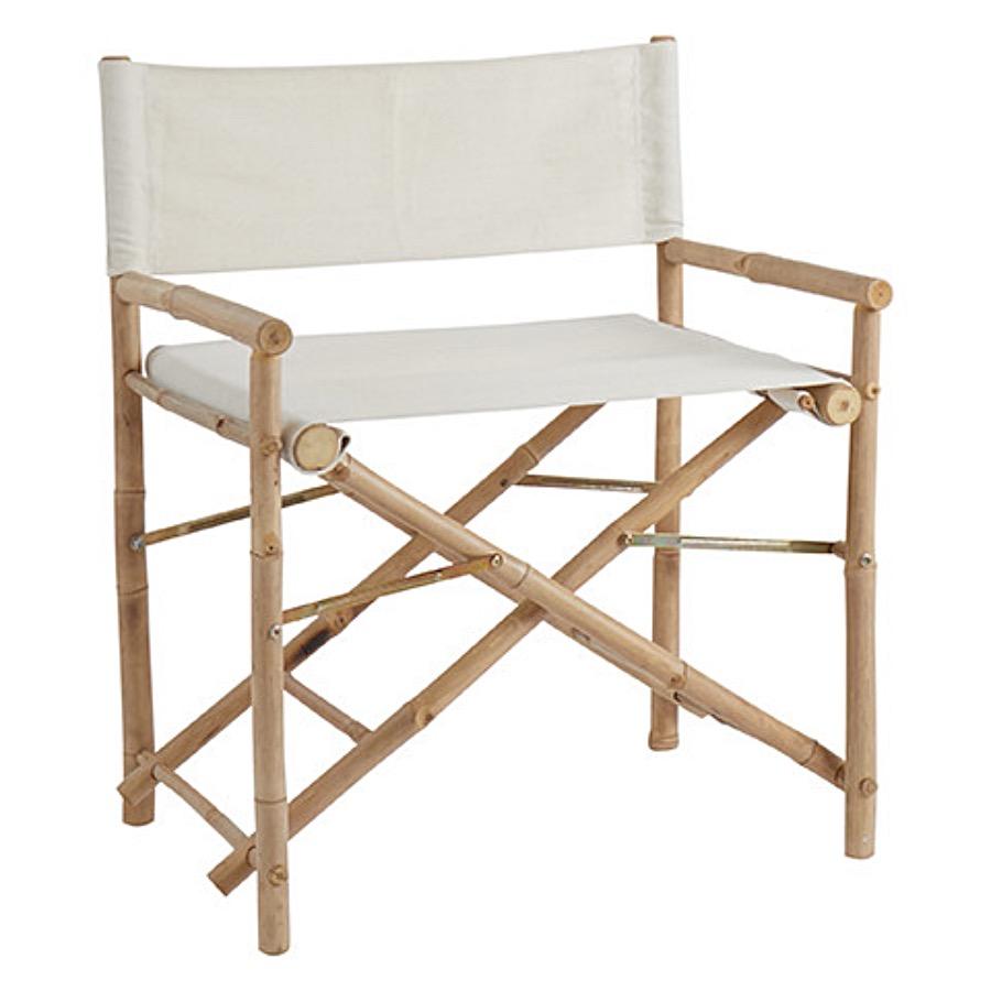 Director's Chair, Bamboo - White. Regissörstol i bambu med creme/vitt bomullstyg.  För inomhus och utomhusbruk.   Ihopvikbar. The Arni Concept.