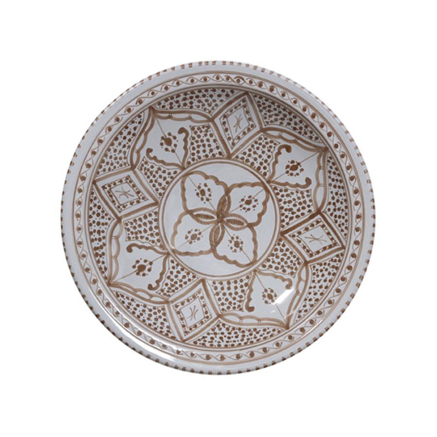 """""""Souk"""" Bowl, 33 cm. Handgjord skål gjord av ljust grå keramik. Det vackra mönstret går i brunt."""