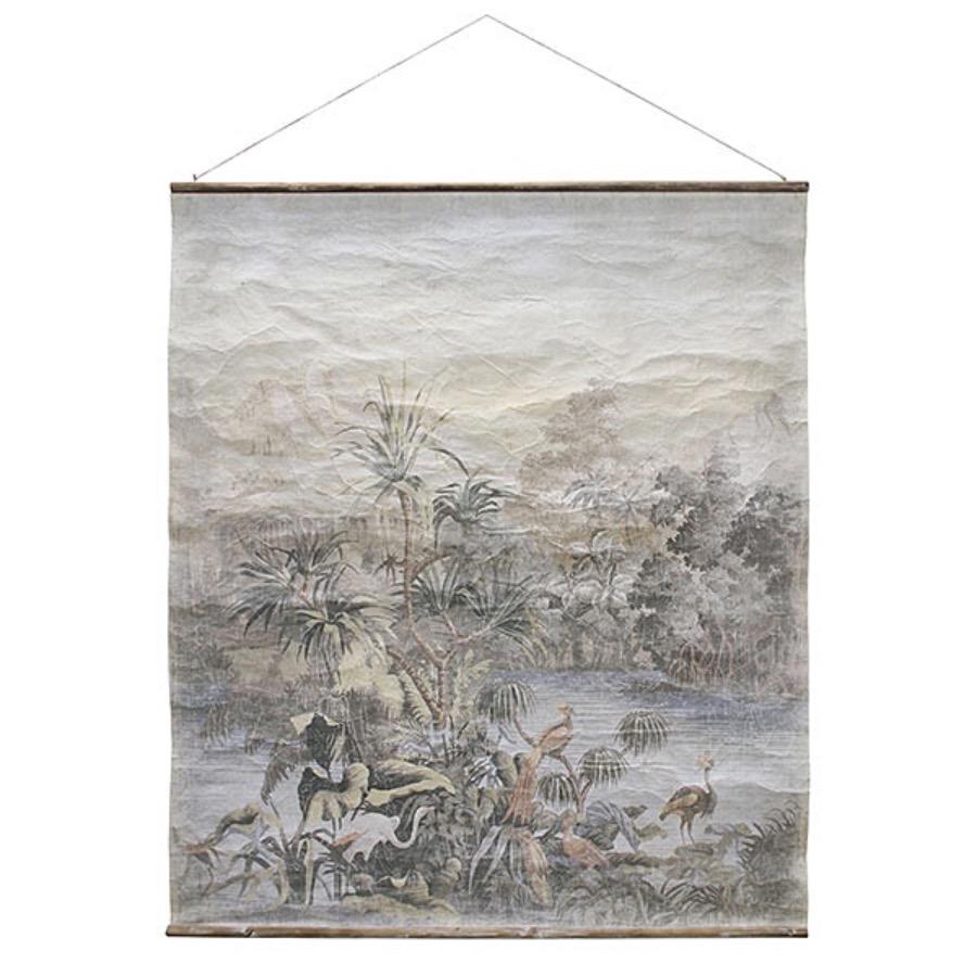 Wall Chart,Vintage Jungle. Motivet är tryckt på papper med en baksida av linne.   Levereras med ram av trä.  The Arni Cocnept.