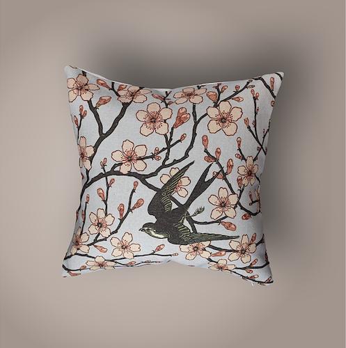 Linen Bird Collection,Swallow Amongst Blossom