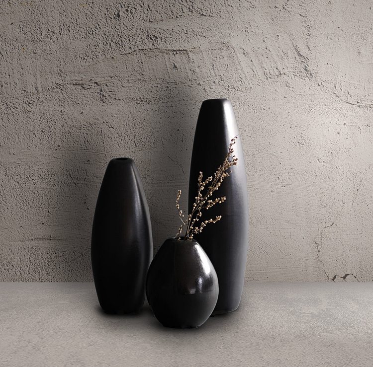 Black Rice Vase Tall