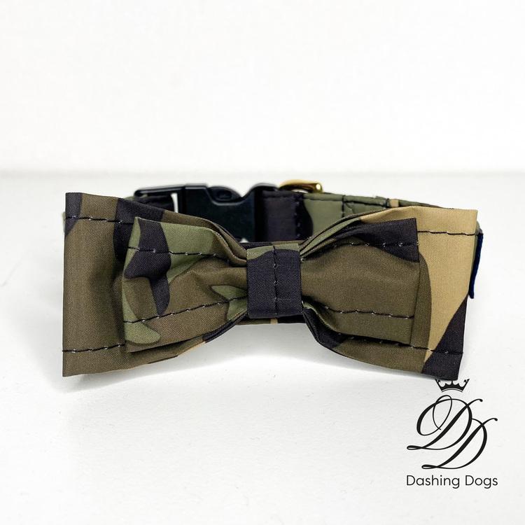 Gustaf & Evita Hundhalsband Rosett Camouflage