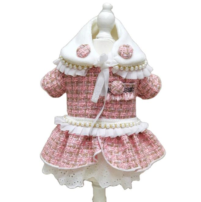 Woolen Dog Dress Pink set