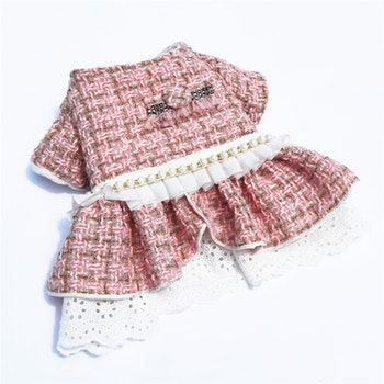 Woolen Dog Dress Pink set