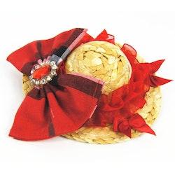 Stråhatt med dekor, Röd