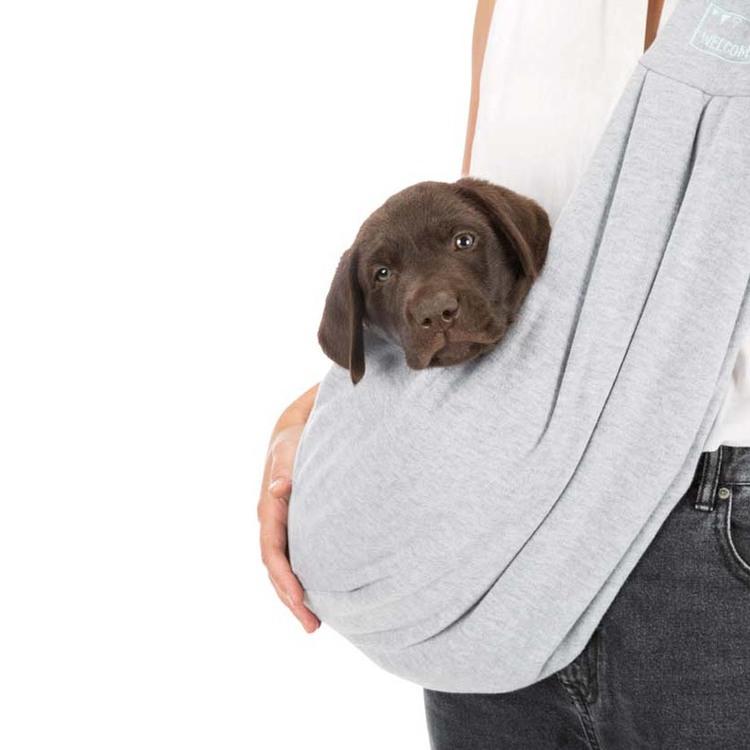 Junior magväska för hund, Sling, Ljusgrå