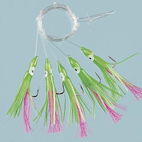 Minibläckfisk Röd/Grön 5 krokar stl 3/0