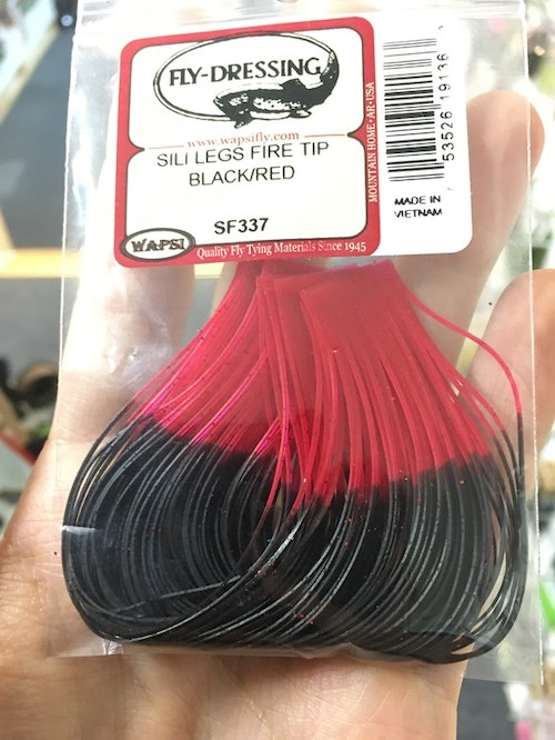 Fly-dressing Sili Legs Fire Tip black/red