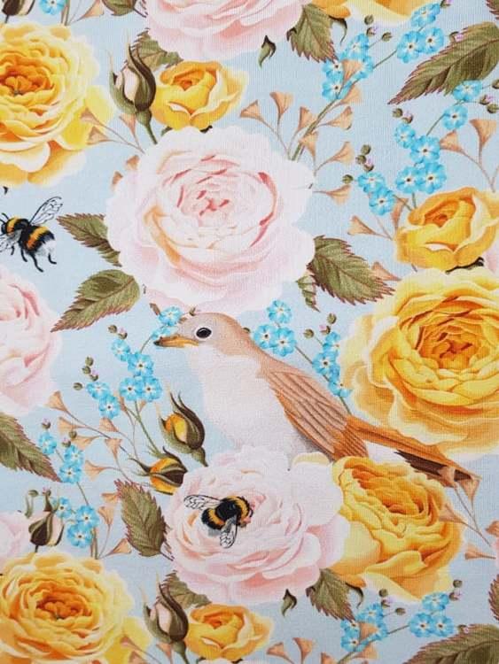 Fåglar och Rosor - Blå