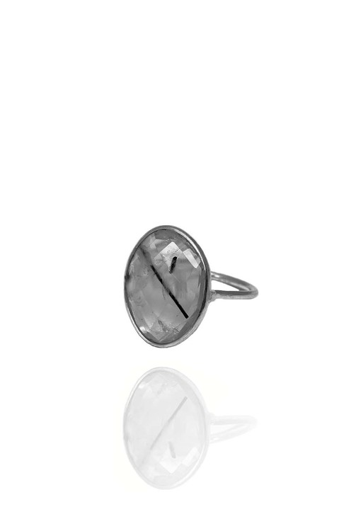 BEZEL RING SVART RUTIL 925 SILVER