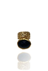 STONED RING SVART ONYX I MÄSSING